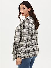 Black & Ivory Plaid Drape Jacket, PLAID - IVORY, alternate