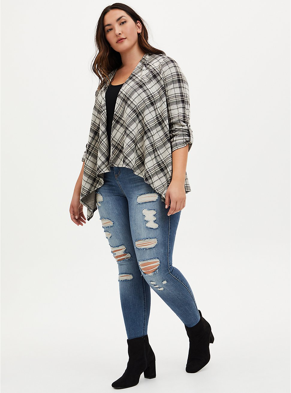 Black & Ivory Plaid Drape Jacket, PLAID - IVORY, hi-res