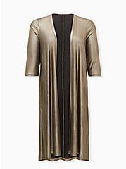 Gold Shimmer Rib Duster Kimono, GOLD, hi-res