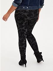 Studio Ponte Grey & Black Flocked Floral Pull-On Pixie Pant, DEEP BLACK, alternate