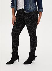 Studio Ponte Grey & Black Flocked Floral Pull-On Pixie Pant, DEEP BLACK, hi-res