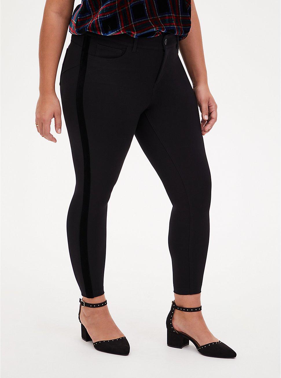 Premium Ponte Black Bombshell Velvet Stripe Tuxedo Pant, DEEP BLACK, hi-res
