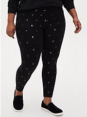 Studio Ponte Black Skull Foil Pull-On Pixie Pant, SKULL - BLACK, alternate