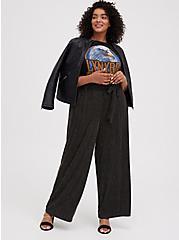 Black Lurex Self-Tie Wide Leg Pant, STRIPE -BLACK, alternate