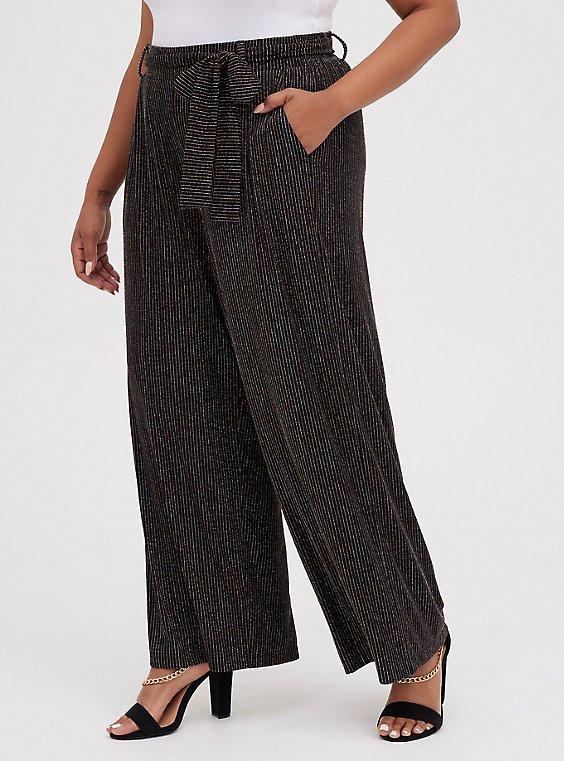 Glitter Stripe Self-Tie Wide Leg Pant, STRIPE -BLACK, hi-res