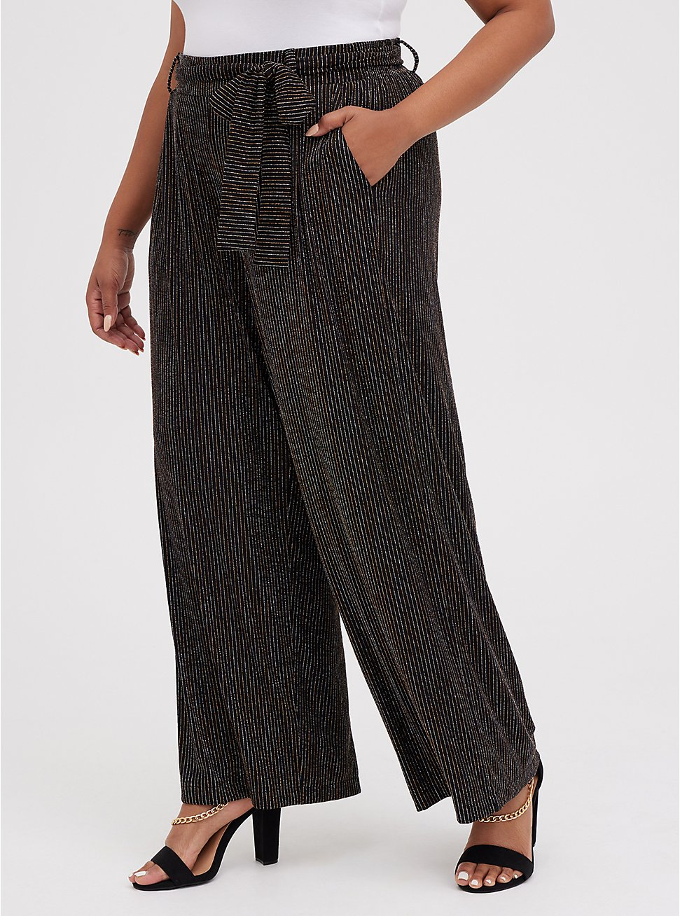 Black Lurex Self-Tie Wide Leg Pant, STRIPE -BLACK, hi-res
