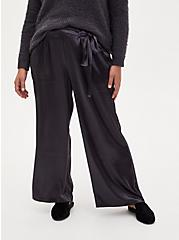 Dark Slate Grey Textured Charmeuse Self Tie Wide Leg Pant, NINE IRON, alternate