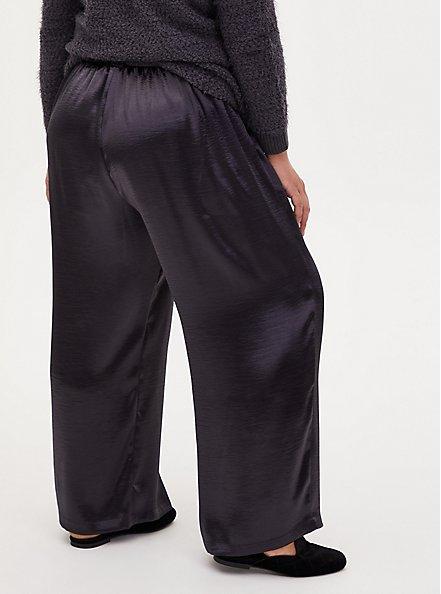 Grey Textured Charmeuse Self Tie Wide Leg Pant, NINE IRON, alternate