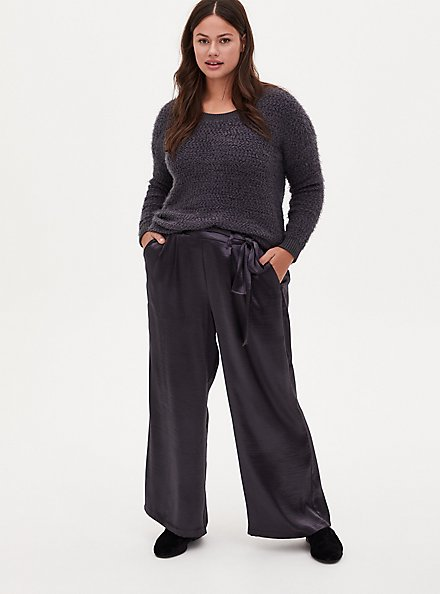 Grey Textured Charmeuse Self Tie Wide Leg Pant, NINE IRON, hi-res
