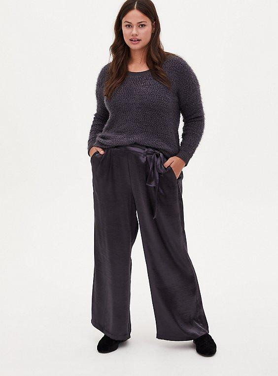 Dark Slate Grey Textured Charmeuse Self Tie Wide Leg Pant, NINE IRON, hi-res