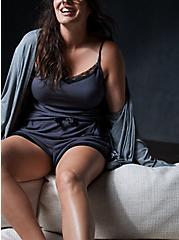 Super Soft Dark Slate Grey Rib Lace Sleep Tank, GREY, hi-res