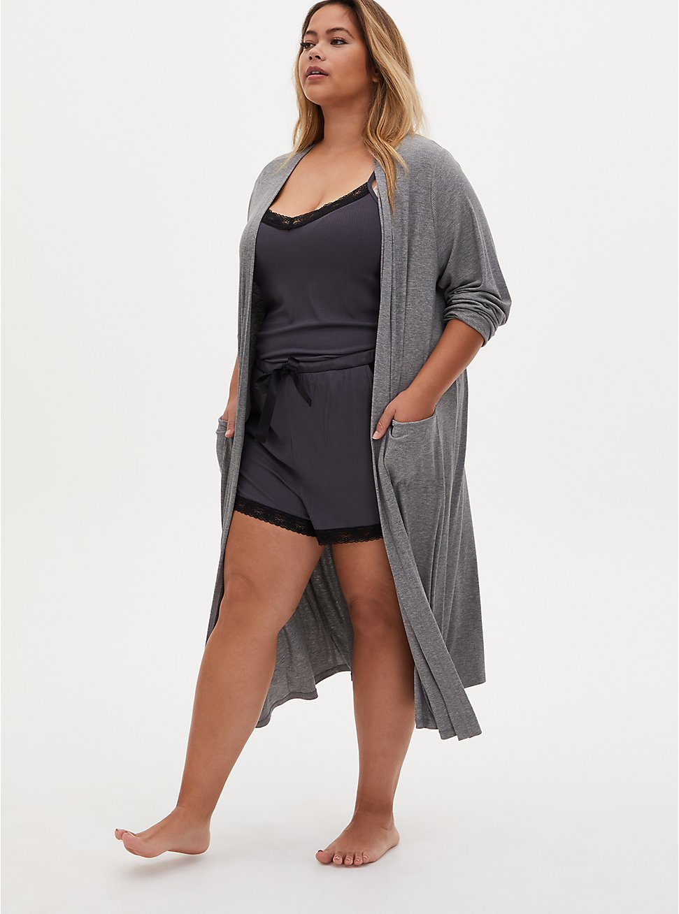 Super Soft Dark Slate Grey Rib Lace Sleep Short, GREY, hi-res