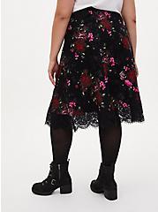 Black Floral Premium Ponte Lace Midi Skirt, FLORALS-BLACK, alternate