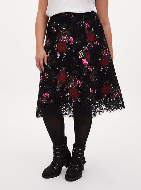 Black Floral Premium Ponte Lace Midi Skirt, FLORALS-BLACK, hi-res