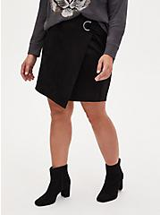 Black Faux Suede Grommet Wrap Skirt, DEEP BLACK, hi-res