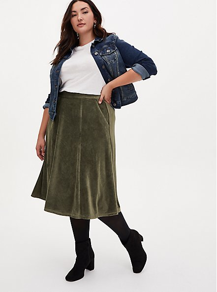 Olive Green Textured Midi Skirt, DEEP DEPTHS, alternate