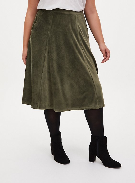 Olive Green Textured Midi Skirt, DEEP DEPTHS, hi-res