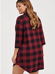 Super Soft Red & Black Buffalo Plaid Sleep Tunic Shirt, MULTI, alternate
