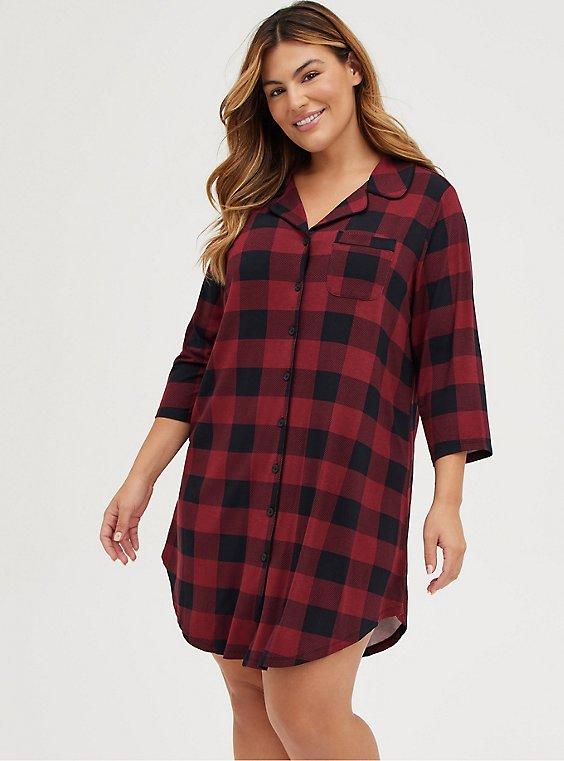 Super Soft Red & Black Buffalo Plaid Sleep Tunic Shirt, , hi-res