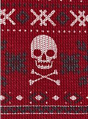 Dark Red Skull Fair Isle Thermal Long Sleeve Henley Sleep Tee, MULTI, alternate