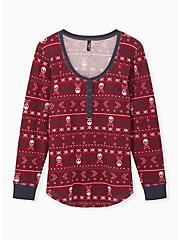 Dark Red Skull Fair Isle Thermal Long Sleeve Henley Sleep Tee, MULTI, hi-res