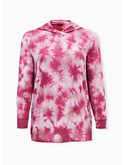 Red Tie-Dye Terry Button Side Tunic Hoodie, TIE DYE, hi-res
