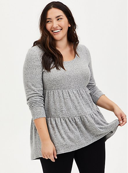 Super Soft Plush Grey Shirred Hem Hi-Lo Babydoll Tunic, , hi-res