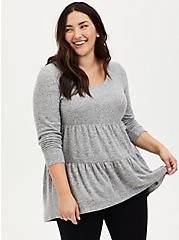 Super Soft Plush Grey Shirred Hem Hi-Lo Babydoll Tunic, , hi-res