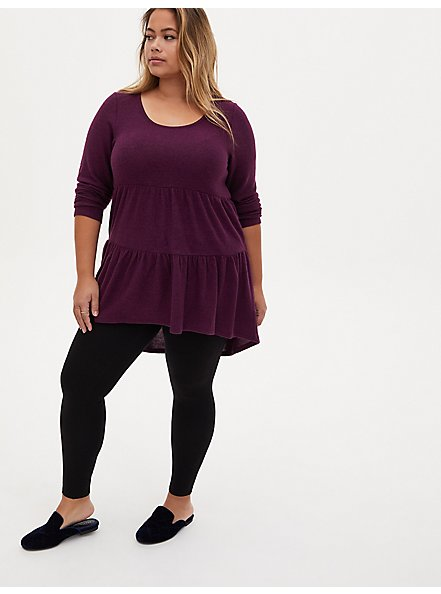 Super Soft Plush Grape Purple Shirred Hem Hi-Lo Babydoll Tunic, POTENT PURPLE, alternate
