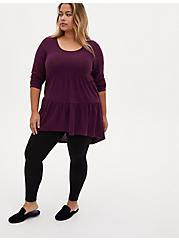 Super Soft Plush Grape Purple Shirred Hem Hi-Lo Babydoll Tunic, POTENT PURPLE, alternate
