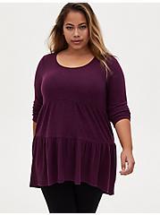Super Soft Plush Grape Purple Shirred Hem Hi-Lo Babydoll Tunic, POTENT PURPLE, hi-res