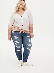 Blush Dip-Dye Brushed Waffle Knit Button Front Tunic, , alternate