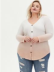 Blush Dip-Dye Brushed Waffle Knit Button Front Tunic, , hi-res