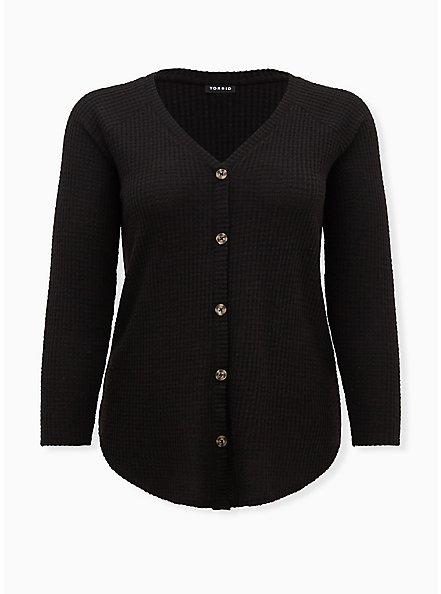 Black Waffle Knit Tie Front Top, DEEP BLACK, hi-res
