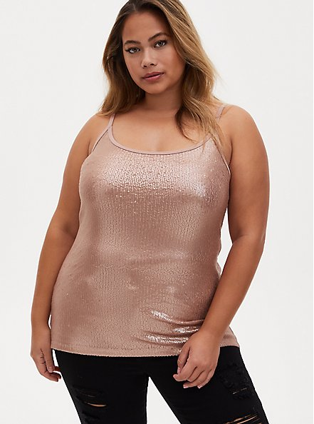 Rose Gold Scoop Neck Sequin Foxy Cami, , alternate