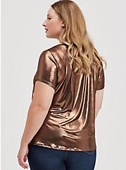 Plus Size Copper Liquid Shine Crew Top, BRONZE, alternate