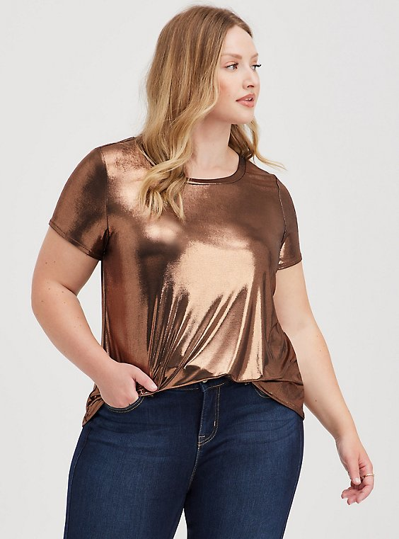 Copper Liquid Shine Crew Top, , hi-res