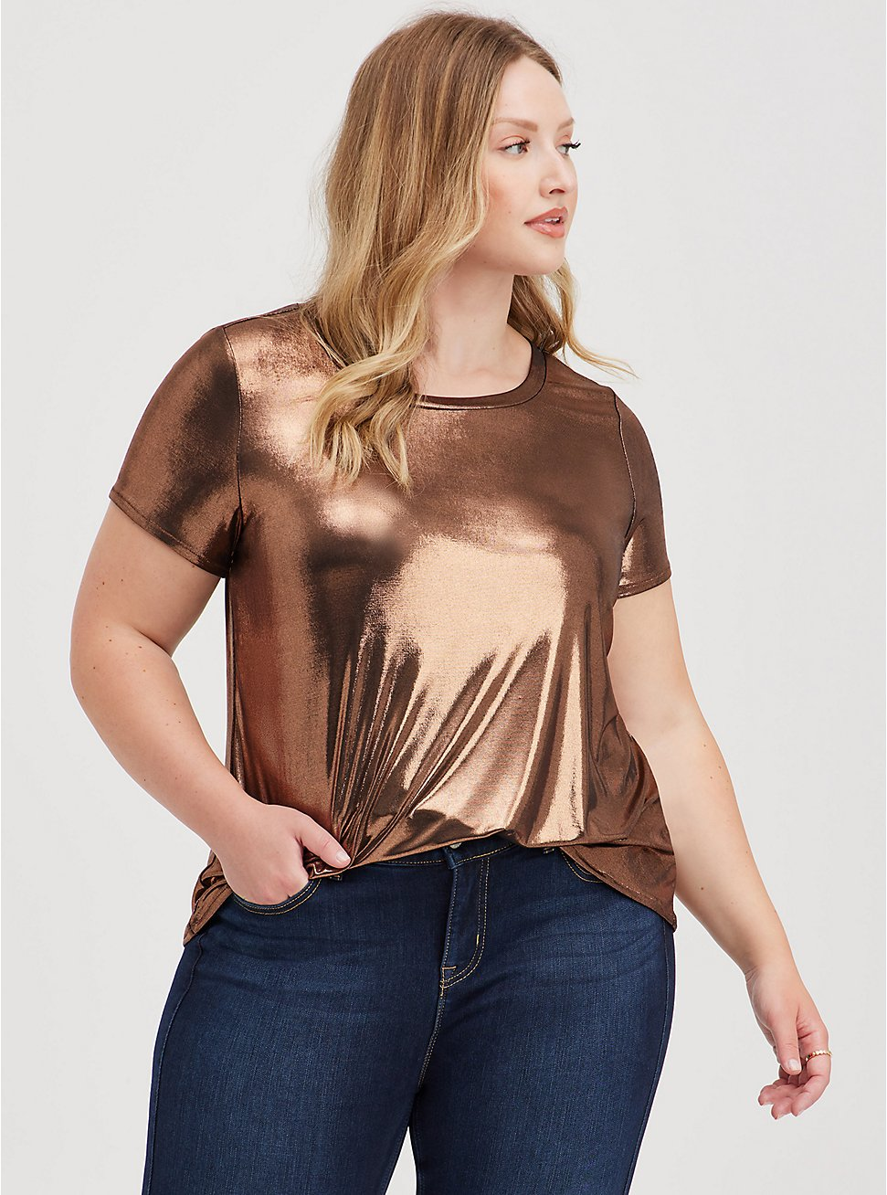 Copper Liquid Shine Crew Top, BRONZE, hi-res