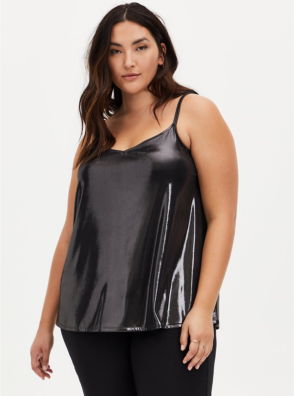 Dark Grey Liquid Shine Swing Cami , NINE IRON, hi-res