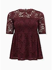 Burgundy Purple Lace Babydoll Top, WINETASTING, hi-res