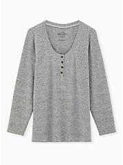 Super Soft Plush Grey Long Sleeve Henley Tee, , hi-res