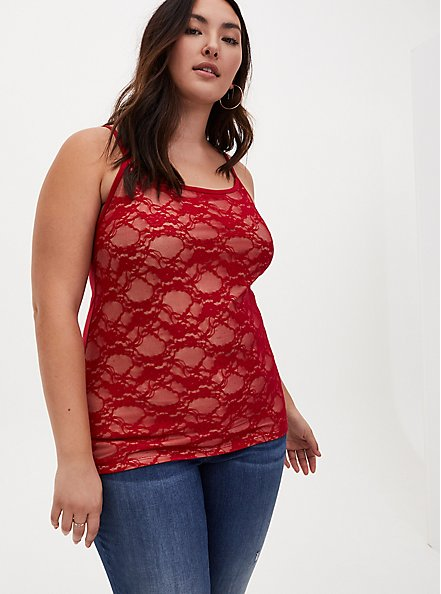 Beige & Red Lace Scoop Neck Foxy Cami, JESTER RED, alternate