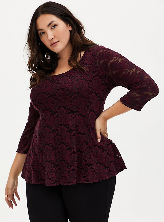 Burgundy Purple Flocked Hacci Lace Fit & Flare Top, , hi-res