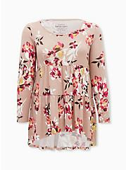 Super Soft Plush Light Pink Floral Tiered Babydoll Tunic, , hi-res