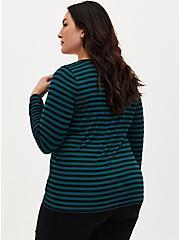 Plus Size Super Soft Black & Teal Stripe Long Sleeve Crew Tee, DEEP BLACK, alternate