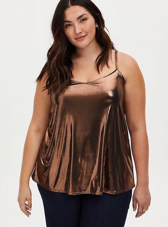Bronze Liquid Shine Swing Cami , , hi-res