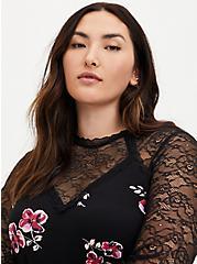 Black Floral Crepe and Lace Sharkbite Top , DEEP BLACK, alternate