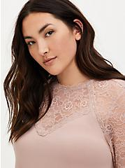 Taupe Crepe and Lace Sharkbite Top , FAWN, alternate