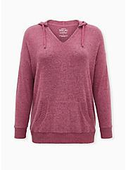 Super Soft Plush Fuchsia Pink Tunic Hoodie, , hi-res
