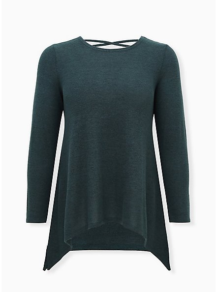Super Soft Plush Dark Green Lattice Back Tee, GREEN GABLES, hi-res